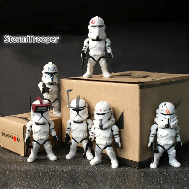 Free Shipping Cute 6pcs 3.5 Star Wars 7 6 White Stormtrooper Group Boxed 9cm Action PVC Figure Model Toy Doll Gift(6pcs/set)
