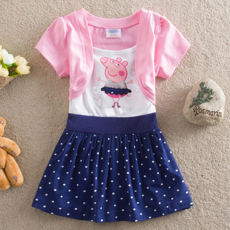 free shipping new 2017 summer kids wear hot sale baby girls dress fashion cartoon pig cotton party dress children baby girls free shipping new arrival 2015 fashion summer baby girl lovely flower sleeveless bowknot round neck party dress hot sale