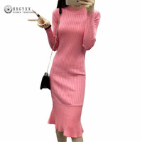2016 New Arrival Women Autumn Winter Dress Sweater Knitting Warm Sheath Casual Mermaid Women S Dresses
