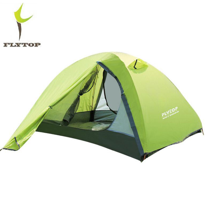 FLYTOP NEW Outdoor Camping Tent Waterproof Rainproof Double Layer Aluminum Rod 2 Person Tourism Hiking Tent Lightweight 2.2KG