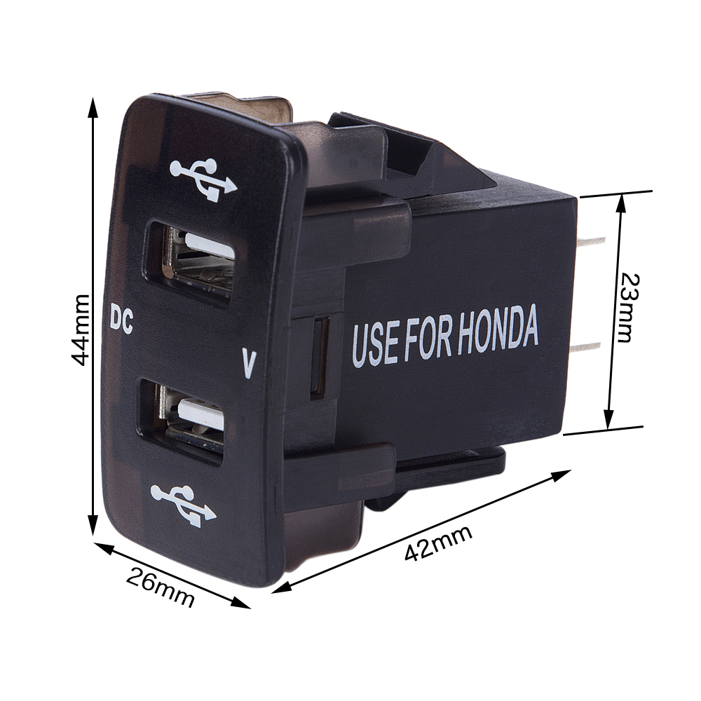 DC 12 24V Dual USB Port Car Charger Cigarette Lighter Socket Power Adapter with LED Digital Voltmeter Meter Monitor For Honda in Cigarette Lighter from Automobiles Motorcycles