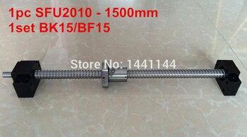1 tornillo de bola SFU2010-1500mm con extremo de tuerca mecanizada + 1 juego BK15/BF15 soporte piezas CNC