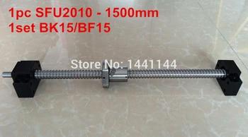 1pc SFU2010 - 1500mm Ballscrew  with ballnut end machined + 1set BK15/BF15 Support  CNC Parts