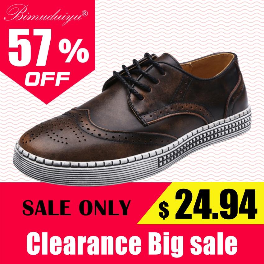 BIMUDUIYU Musim Semi Musim Gugur Baru Sepatu Trendi Kualitas Kulit Asli Lembut Kasual Pria Gaya Brogue Sepatu pria 38-48 ukuran Besar