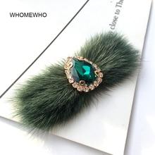 Faux Rabbit Fur Pom Pom Rhinestones Handmade Beaded Brooch Patches Applique Sew on Beading Clothes Shoes Clip Decoration DIY недорого