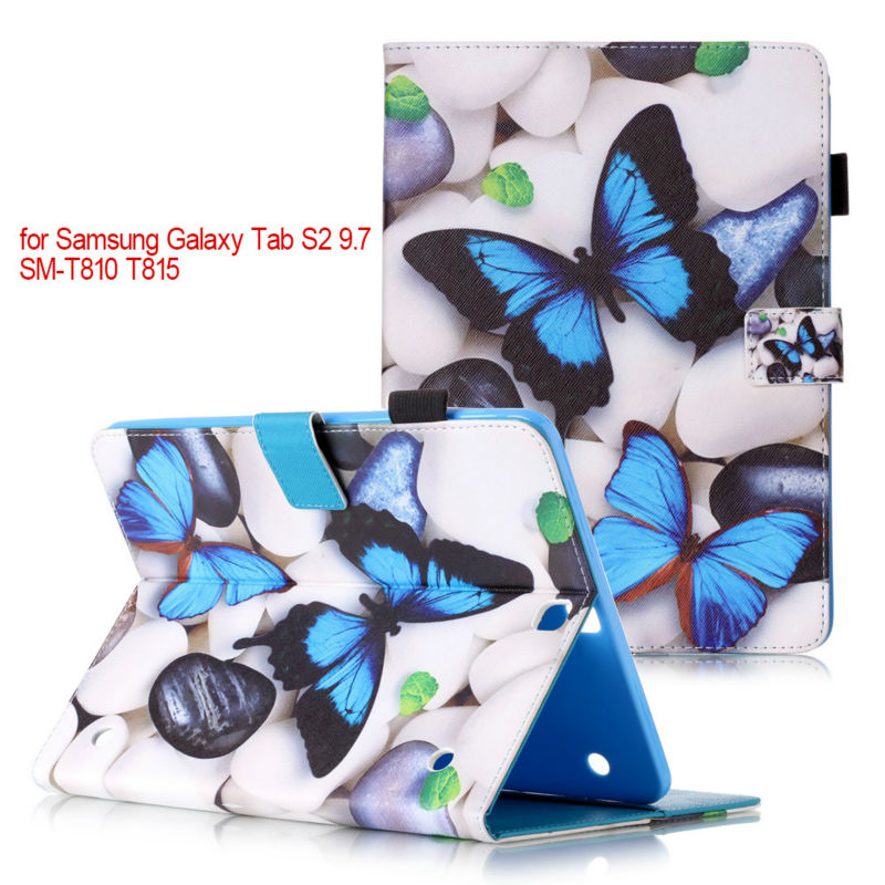 Fashion Magnetic stand pu leather cover case For Samsung Galaxy Tab S2 9.7inch T810 T815 SM-T810 Tablet cases+flim+stylus pen