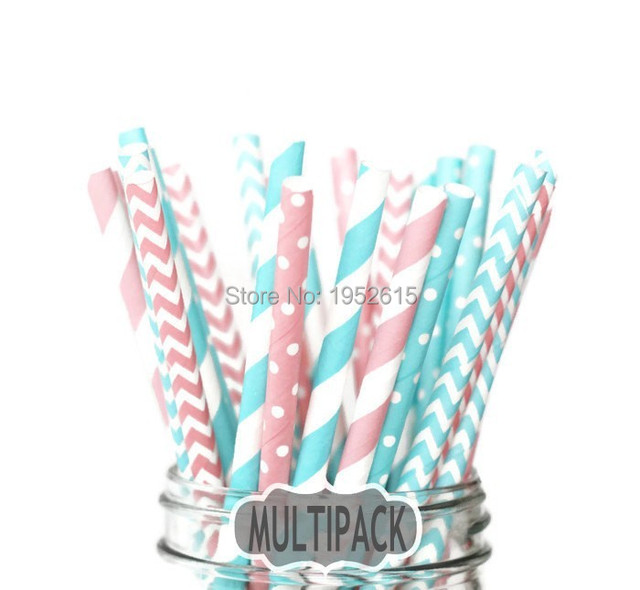 New Hot 25pcs(5styles)Paper Straws For Kids Birthday Wedding Decoration Event Party Supplies Creative Mixed Colors Free Shipping 2