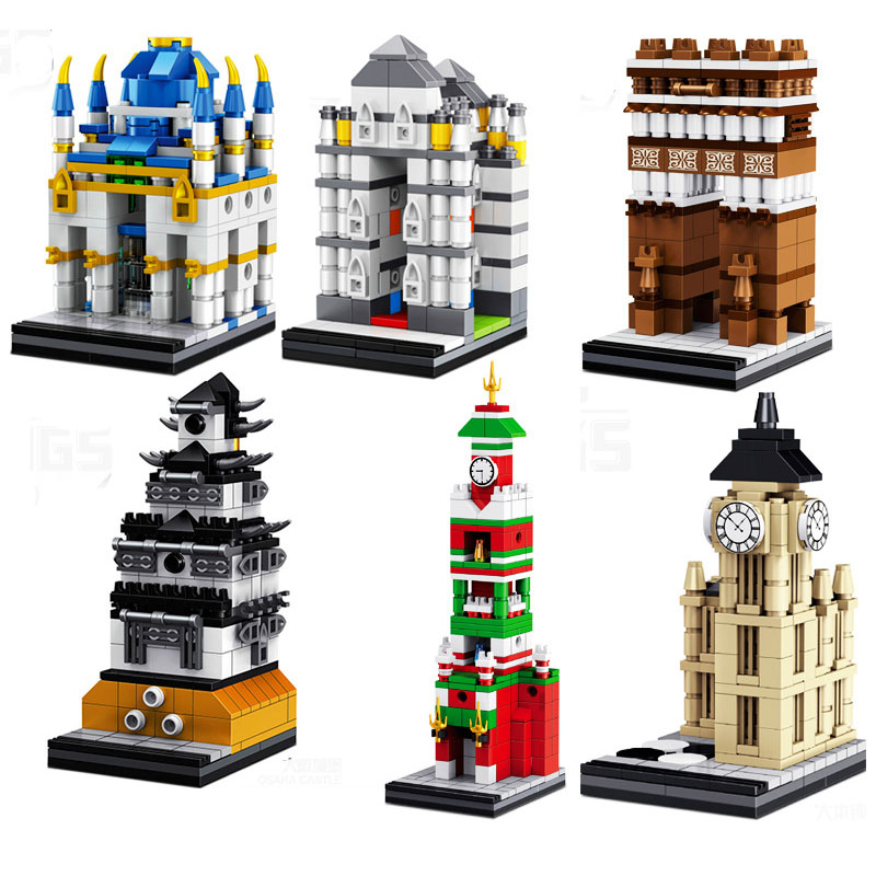 Classic World Famous Building Architecture Building Block Moscow Kremlin/Big Ben Clock/Triumphal Arch Architectures Bricks Toys mr froger loz diamond block easter island world famous architecture diy plastic building bricks educational toys for children