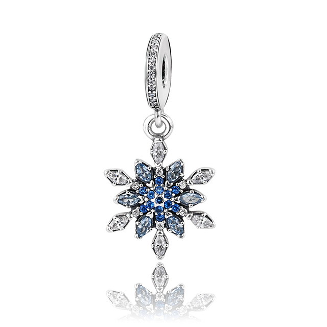925 Sterling Silver Jewelry Charm for Bracelets Snowflake Dangle with Mixed Zircon as Christmas Gift for Friends Women Bijoux