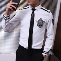 2017 Military Style Mens Shirts Fashion Shirts Mens Aeronautica Militare Men Work Uniforms White Shirts Slim