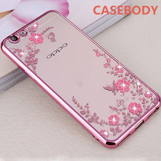 newest 6d521 0ee3a US $1.99 |CASEBODY For OPPO F5 Case Silicone Glitter Flower Bling Diamond  Bumper Cover For OPPO F5 Case Soft TPU For OPPO F 5 Phone Cases-in Fitted  ...