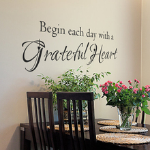 Begin Each Day Quotes Wall Sticker Inspirational Quote Decals Grateful Heart DIY Vinyl Lettering Cut Q231