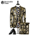 Mens Gold Tuxedo Suits With Flowers 2017 Fashion Stage Costumes For Singers Slim Fit Velvet Suits For Men DT379
