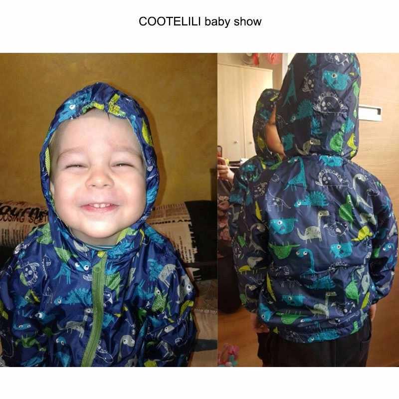 COOTELILI/Детская куртка с вышивкой динозавра на весну-осень на рост 80-120 см, верхняя одежда для мальчиков, пальто с капюшоном, одежда для маленьких мальчиков