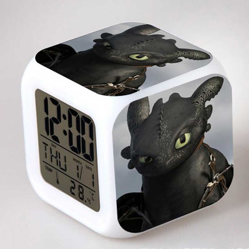 How to Train Your Dragon 2 Anime Figurines Colorful Flash Touch light Alarm Clock Toothless Dragon Figure Kids Toys how to train your dragon 2 dragon toothless night fury action figure pvc doll 4 styles 25 37cm free shipping retail
