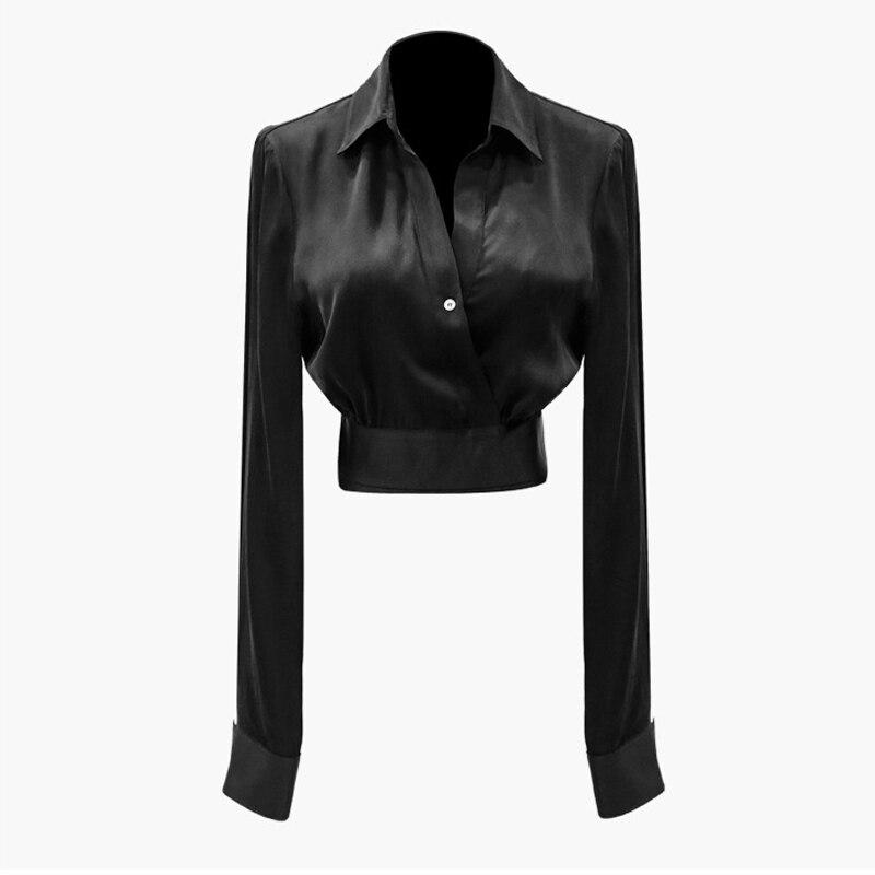 OXANT Slim taille chemise noire pour les femmes Sexy à manches longues croix bande haut col en V profond Slim chemise courte - 5