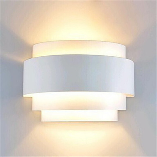 Modern Wall Lamp Led White Sconce Ambient Light Flush Mount Lights Res Bathroom Fixtures