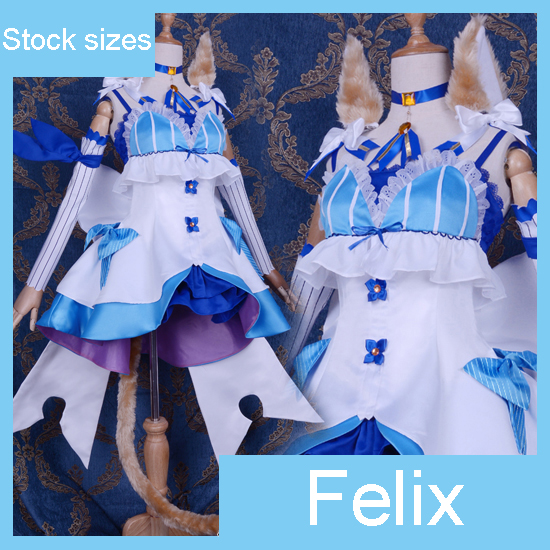 Anime Re Life in a different world from zero Felix Argyle Cat Uniform Lolita dress cosplay