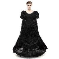 Duża Huśtawka Lolita Kobiety Sukienka Czarny Okrągły Dekolt Suknie Z Długimi rękawami Łuk Bandaż Wzory Haftu Wieczór Sukienka Tube
