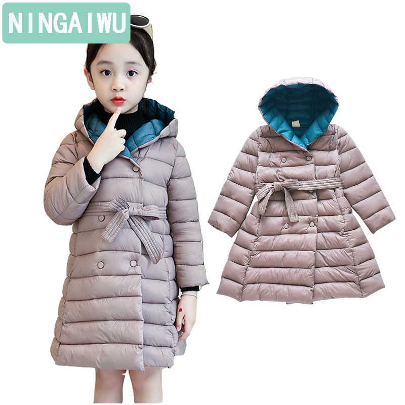 6-14Y Girls' Cotton-padded Coats New Winter Clothing Children's Fashion Long Down Padded Jacket Kids Leisure Warm Outerwear Tide new arrival maternity clothing winter outerwear cotton padded jacket fashion top fashion warm jacket medium long plus size