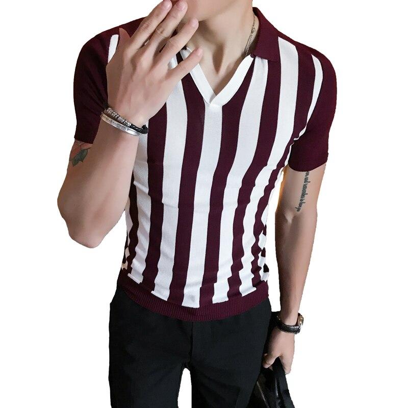 Knitted   Polo   Shirt Men 2018 Summer Pattern Stripe Shirt Men Red Black Gray Vertical Stripe   Polo   Shirt Men Slim Fit Elegant   Polo