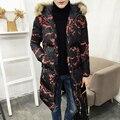 2016 зимний мужской досуг моды камуфляж пиджаки куртка Парки мужская с длинным сгущает хлопок ватные куртки пальто