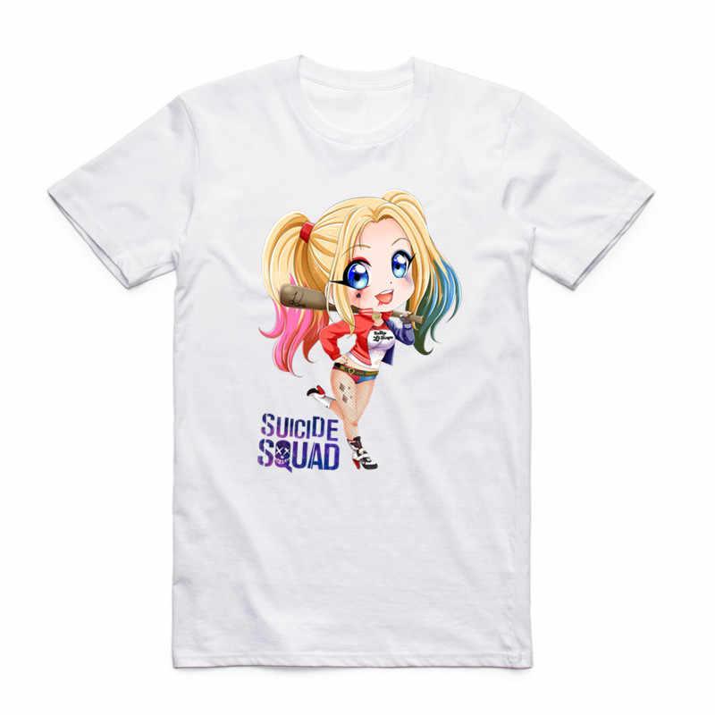 Модные мужские футболки с принтом отряд самоубийц Харли Квинн, Джокер, летние хипстерские повседневные футболки с круглым вырезом и короткими рукавами, крутая футболка