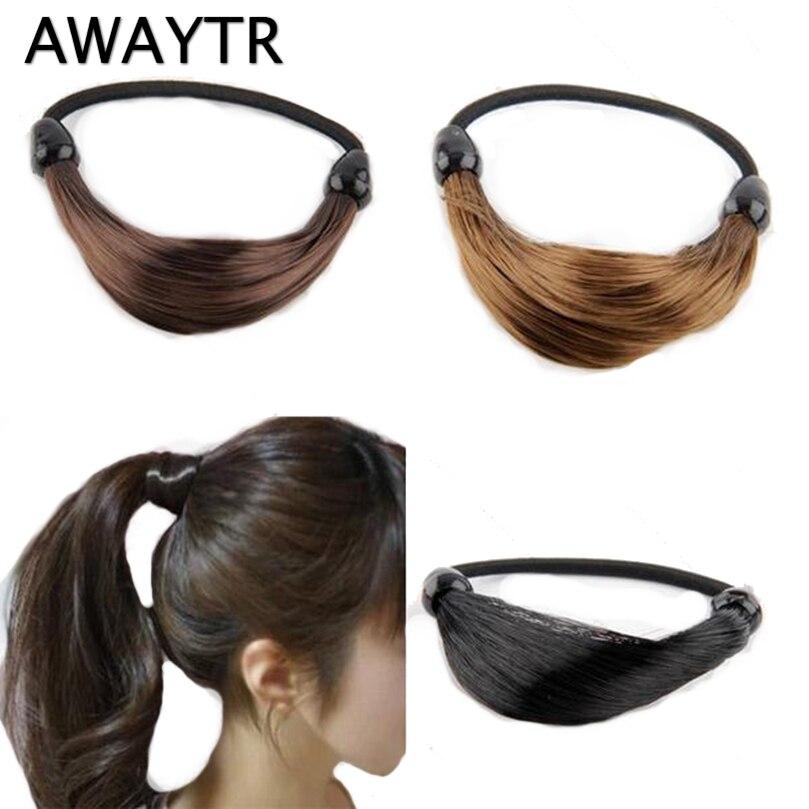 AWAYTR Wig Scrunchie Girls Hair Tie Women Elastic Hair band Hair Rope Gum Women Ponytail Holder Rubber Band Hair Accessories fishtail braid with hair accessory