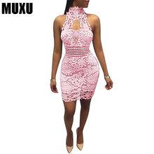 MUXU 2018 new Fashion Lace Sleeveless Dress short womens clothing backless jurken pink white mini crochet dress streetwear jurk