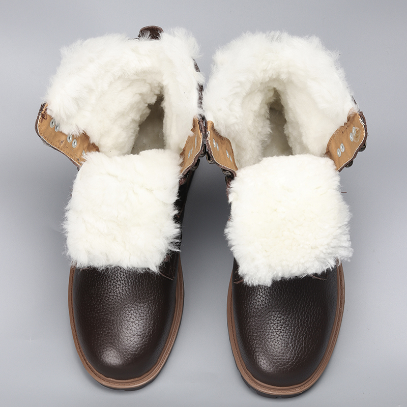Natural Wool Men Winter Shoes Warmest Genuine Leather Handmade Men Winter Snow Boots #YM1568 warmest genuine leather snow boots size 37 50 brand russian style men winter shoes 8815