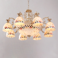European Mediterranean Lights Chandelier 8 Arms with Shell Glass Shade 2 pcs. living dinning room bedroom lamp home deco