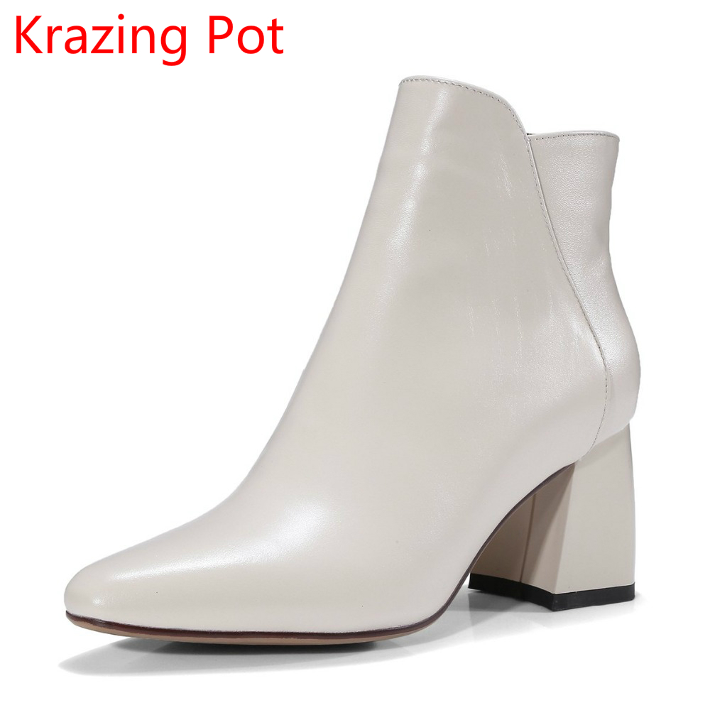 Fashion Genuine Leather Winter Boots Zipper Runway Handmade Thick Heel Chelsea Boots Nightclub Solid Pointed Toe Ankle Boots L70  new arrival genuine leather pointed toe fashion winter boots rivets thick heel slip on chelsea boots handmade ankle boots l93