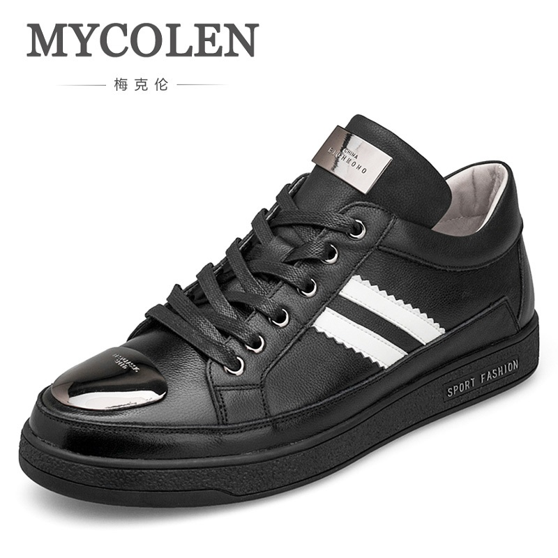 MYCOLEN 2018 Hot Sale Men Shoes Leather High Quality Fashion Men's Casual Shoes European Style Men Flats Shoes Schoenen Man 2017 new spring imported leather men s shoes white eather shoes breathable sneaker fashion men casual shoes