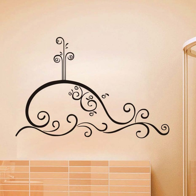 swirl whale outline bath wall sticker pvc removable wall decal waterproof self adhesive wallpaper creative home - Whale Outline