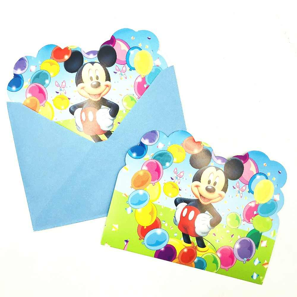 6pcs Classic Mickey Mouse Birthday Party Invitations Ideas Cheap 1st Invitation Partyware Decoration Card