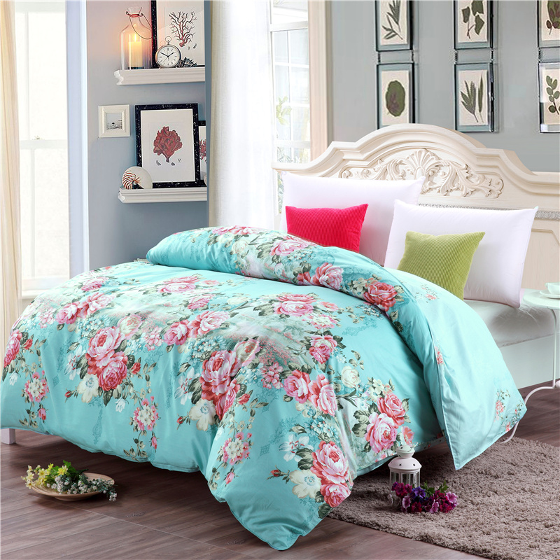 Farmhouse style red print green pattern home textiles bedding 100% cotton single quilt cover duvet cover five size super soft