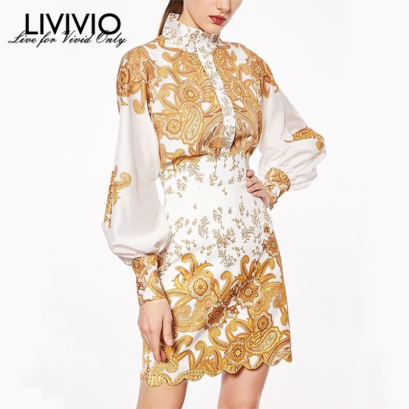 [LIVIVIO] Print Suits For Women Lantern Sleeve Stand Collar Shirt Tops High Waist Mini Skirts Two Piece Sets Female 2019 Fashion
