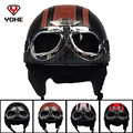 YOHE ABS Vintage Motorcycle Bike Bicycle Cruiser Open Face Half Leather Helmet Retro Harley Goggles