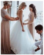 לורי סקסי חתונת שמלת Boho ארוך ללא משענת לבן חוף חתונת שמלת אפליקציות תחרה סקסית נסיכת הכלה שמלת משלוח חינם