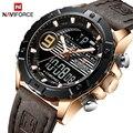 Top Luxus Marke NAVIFORCE Männer Sport Uhren herren Quarz Digitale Uhr Männlichen Mode Leder Wasserdichte Uhr Relogio Masculino-in Quarz-Uhren aus Uhren bei