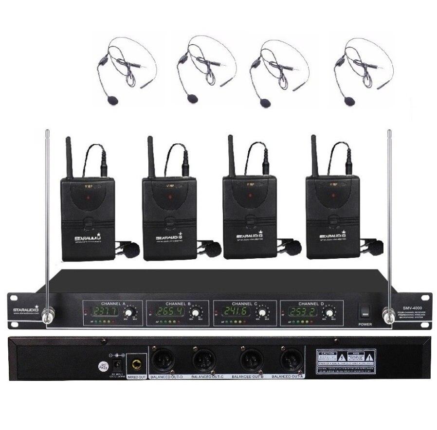 STARAUDIO SMV-4000B Pro 4CH VHF Wireless PA DJ Stage Club Church Karaoke Headset Microphone System