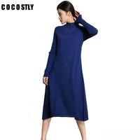 High Qaulity 2017 Winter Women Sweater Dress Women Casual Wool Dresses O Neck Loose Long Dresses