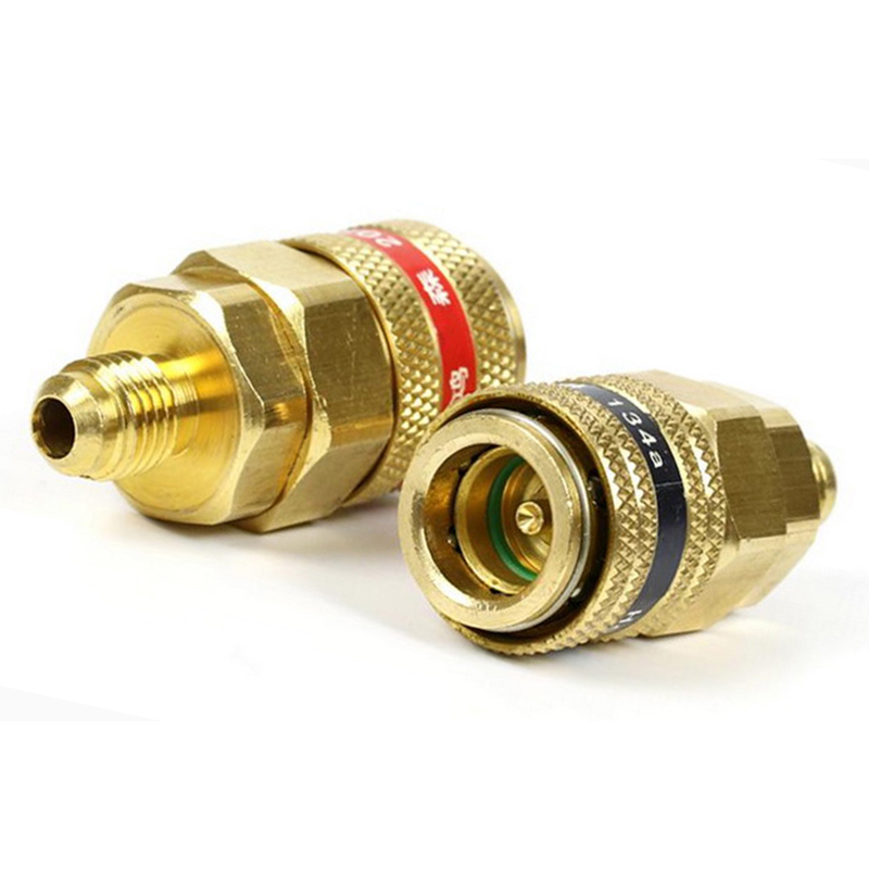 1 Pair Quick Coupler Brass Connector Adapter Manifold Conversion Kit 1/4 SAE R134a For Car A/C Systems High / Low Pressure Side