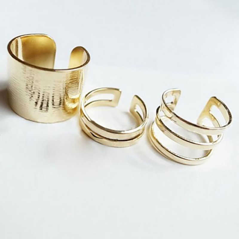 New Fashion The Same Paragraph Adjustable Finger Joint Three-piece Hollow Geometric Round Ring Fashion Jewelry 3pcs/set