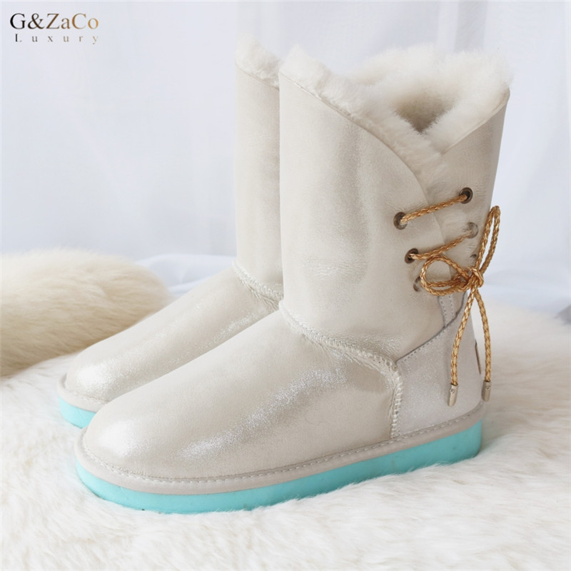G&Zaco Luxury Winter Women Sheepskin Snow Boots Mid Calf Side Lace Flats Boots Natural Wool Sheeo Fur Shearling Genuine Leather fashion hot winter hand embroidery flowers women snow mid calf boots sheep wool high qualit flats street style beauty boots 26