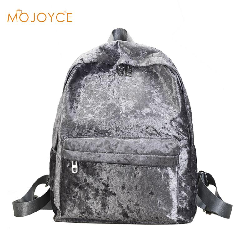 Women Velvet Backpacks Pleuche Casual Backpack Style Girls Mochila Zipper Bags School Bag for Teenage Girls Fashion Back Escolar hot sale 2017 new arrival bag mochila escolar backpack anime kawaii backpack mochila for teenage girls korean school bags