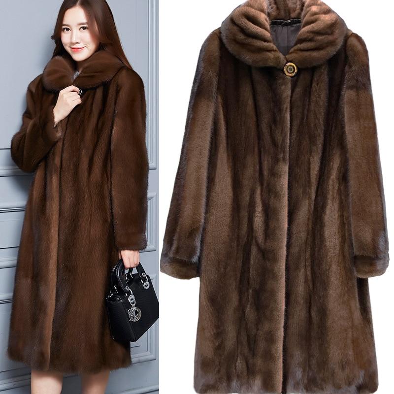 S-6XL New Fashion Women Winter Clothing High Imitating Mink Trench Coat Long Style 2018 Mink Fur Coat Plus Size Faux Fur Coat