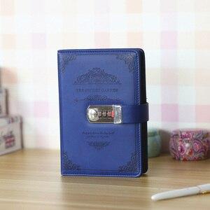 Image 5 - Papelería estilo retro Agenda suministros estudiantes escuela Oficina negocios regalos vintage hilo instalado Bloc de notas con contraseña diario con candado