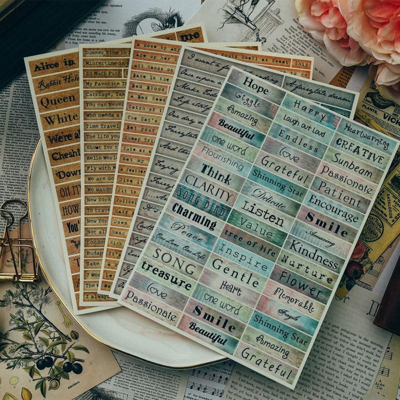 YPP ARTISANAT Vintage Style Mots Autocollants pour Scrapbooking Heureux Planificateur/Fabrication De Cartes/Journalisation Projet