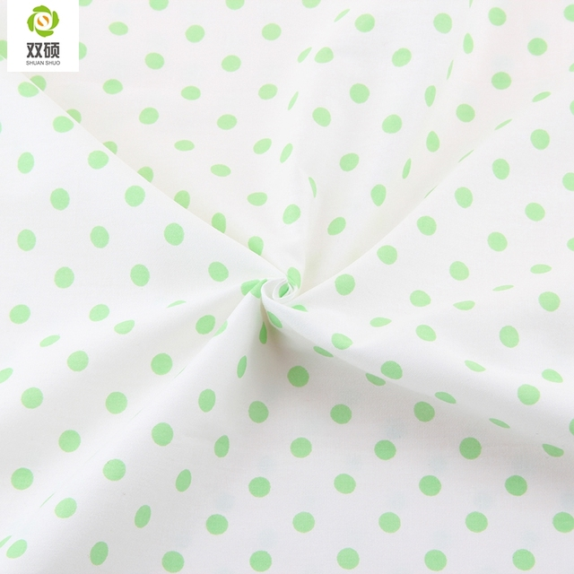 Printed Green Dot Pattern Cotton Fabric Tilda For Baby Bedding